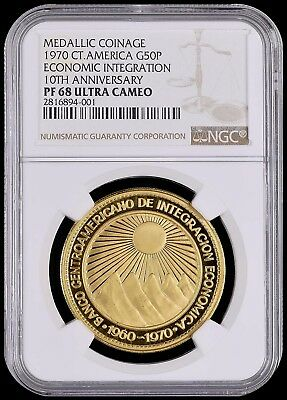 Central American Union: Republic Gold Proof 50 Pesos 1970 PF68 Ultra Cameo NGC