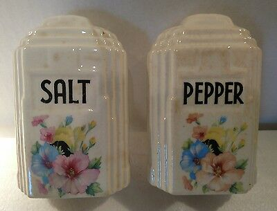 Floral Hand Painted Ceramic Salt and Pepper Shakers