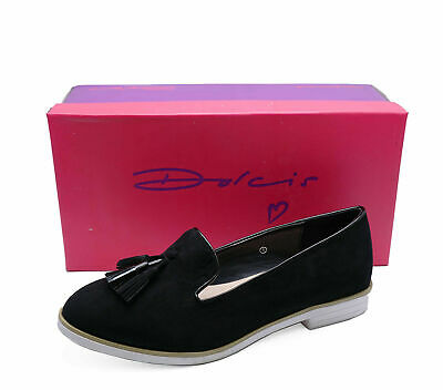 Womens Dolcis Kenzi Black Loafers Slip-On Smart Work Shoes Pumps Sizes 3-8