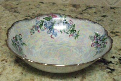 Antique Floral Serving Bowl Dish, Pearlescent with Blue & Pink Flowers, 8""