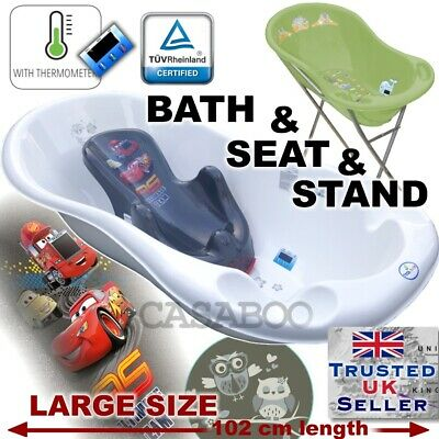 SET LARGE 102cm length Baby Bath Tub with STAND + seat cars &THERMOMETHER&DRAIN