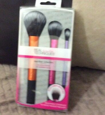 Real Techniques 3-pc Duo-Fiber Collection Makeup Brush Set Brand New In Box