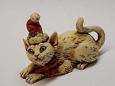 Harmony Kingdom Artist Neil Eyre Designs Christmas Santa Hat bow cat kitten