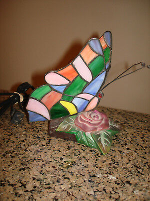 Colorful Butterfly Night Light Stained Glass Accent Table Lamp Tiffany Style