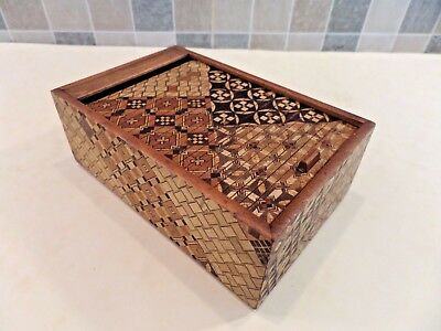 EARLY TO MID 20thC JAPANESE YOSEGI PARQUETRY BOX WITH TAMBOUR ROLL TOP LID - VGC