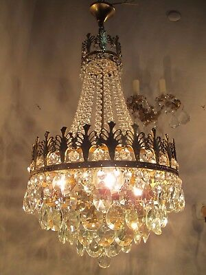 Antique French Basket Style Crystal Chandelier Lamp 1940s 14in Ø diameter..
