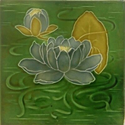 Antique Majolica Tube Lined Water Lily Tile (no. 2)