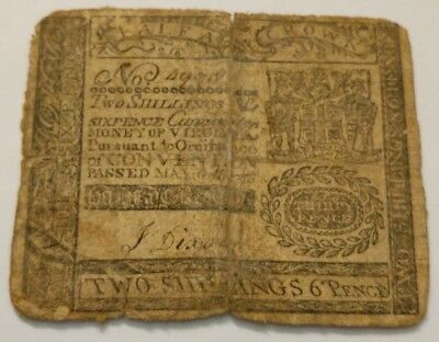 Rare May 6 1776 Virginia 2 Shillings & 6 Pence Colonial Currency Note John Dixon