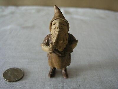 Hand Carved Wood Dwarf Shoe Cobbler Man Smoking Pipe Fairy House Folk Art