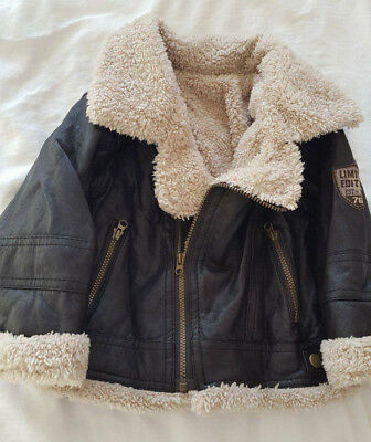 GORGEOUS! 9-12 Months - Boy's Leather and Fleece Bomber / Pilots Jacket