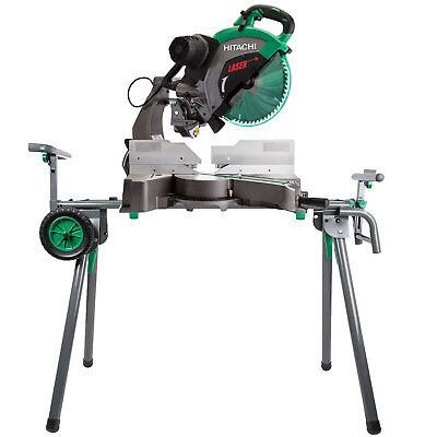"Hitachi C12RSH2 15A 12"" Dual Bevel Compound Miter Saw w/ Laser and Stand New"