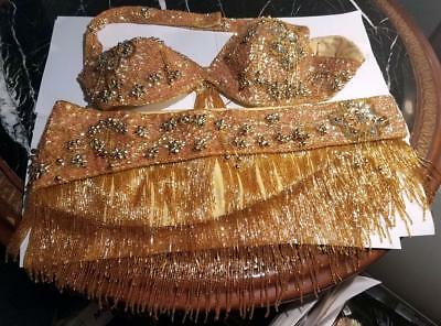 Vintage Professional Sequin & Glass Beaded belly-dance costume Medium Handmade
