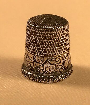 Antique Waite Thresher Sterling Silver Thimble