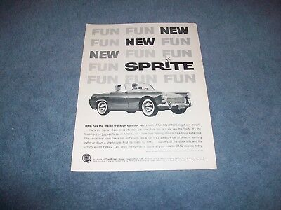 "1962 Austin Healey Sprite Vintage Ad ""BMC Has The Inside Track on Outdoor Fun"""