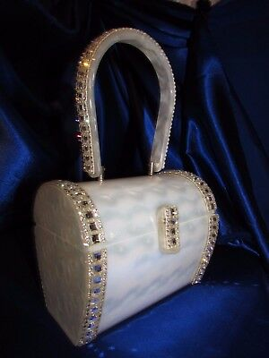 Vintage Rare Wilardy Shimmering Mother Of Pearl Look Embellished Rhinestones