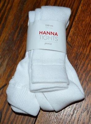 Hanna Andersson White Footless Cotton Ankle Tights Size120 or US 6 - 7 NWT