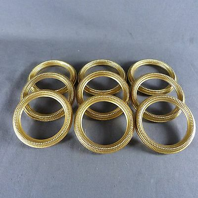 Antique French Vintage Set of 9 Brass Tole Curtain Hanging Rings