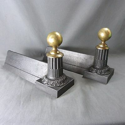 French Antique Cast Iron & Copper Andirons Chenet Firedogs Fireplace