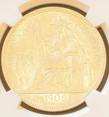 1908 A FRENCH INDO-CHINA One Piastre Silver Coin NGC AU 58
