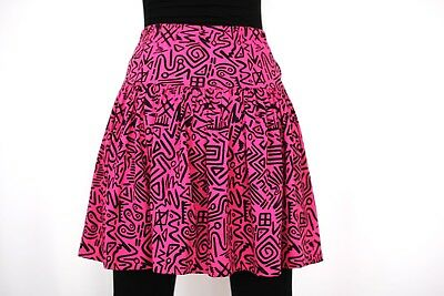 80's Eighties Vintage Hot Pink Graphic New Wave Abstract Squiggle Skirt