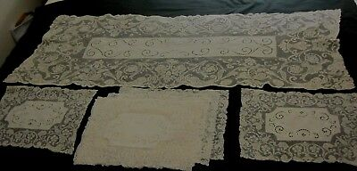 8 Vintage Lace Embroidered Placemats and Runner