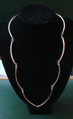 "Solid Vintage heavy Sterling silver 3mm curve link necklace 25"" 51gm"