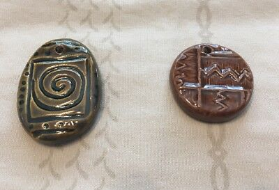 Ceramic Pendants, 2 Brown, double sided