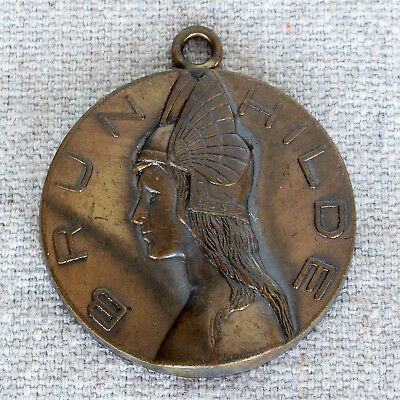 Vintage Art Deco Era Brunhilde Pendant Brynhildr Valkyrie German Mythology Charm