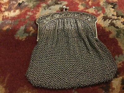 Sterling Silver Art Nouveau Antique Mesh Coin Purse For French Or German Doll