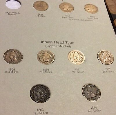 Indian Head Penny collection Us Coins HE Harris Coin Folder 1857 to 1909-Good+