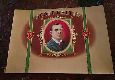 SCOTT KELTIE inner Cigar Box Label 1920s EMBOSSED NICE ART! ORIGINAL VINTAGE