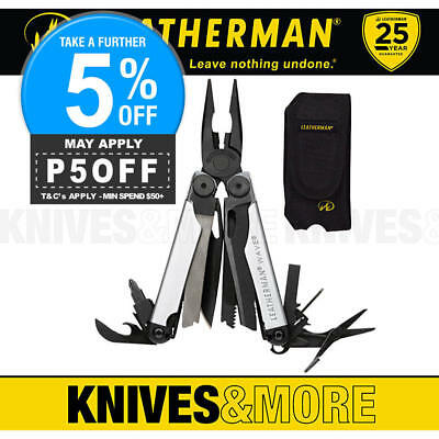 Limited Edition Leatherman Wave Black Silver Std Stainless Multi-Tool + Sheath