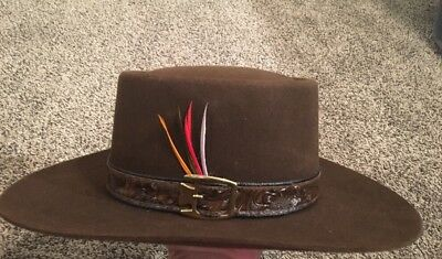 Vtg Western Stetson Gambler Cowboy Hat 4X Leather Band w  Feathers Size 7  Brown 6ca8bb16314