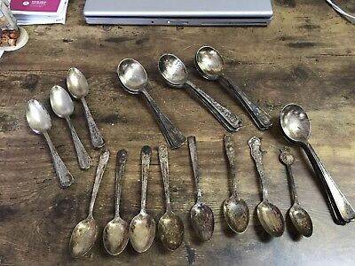 Lot Of Antique Silver Plate Spoons Rogers Nobility Gorham Avon Sectional