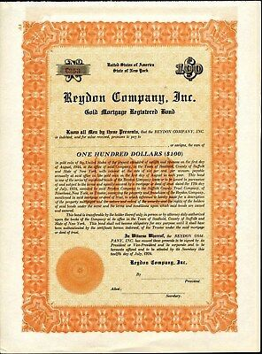 $100 Reydon Company, Inc., Gold Bond, 1924, Unissued