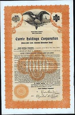 $1000 Currie Holdings Corporation Bond, 1927