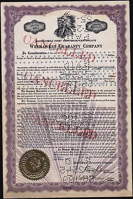 $5,000 Weehawken Guaranty Company Bond, 1932