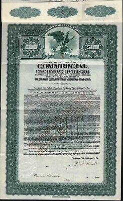$500 Commercial Exchange Building Gold Bond 1928 With 21 Coupons