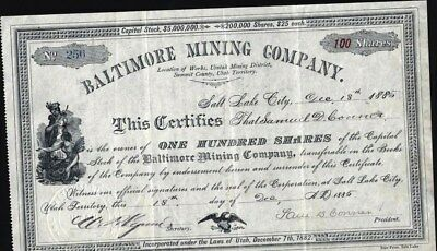 Baltimore Mining Co, Utah, Terr. 1885, Works, Uintah Mining District, Summit Co.