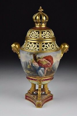 Antique 19th Century German Dresden Scenic Porcelain Covered Urn