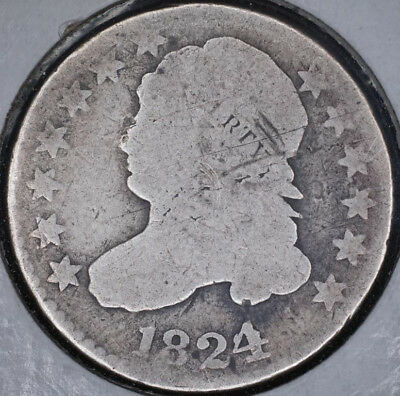 1824/2 10C Capped Bust Dime Good, hard to find date!