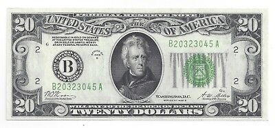 FR 2052B. $20 1928B. UNCIRCULATED Federal Reserve Note