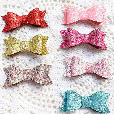 Baby Girl Hairbow Hairpins Chic Glitter Leather Bow Hair Clips Hair Headwear FT