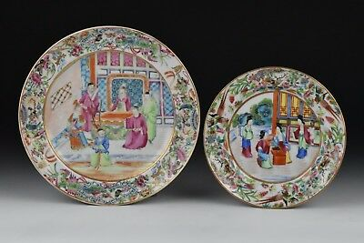 Two 19th Century Chinese Famille Rose Mandarin Porcelain Plates
