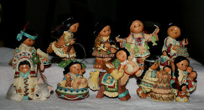 """Enesco Friends Of The Feather-Lot Of 10 - 1997 Complete """"10 Little Indians"""""""