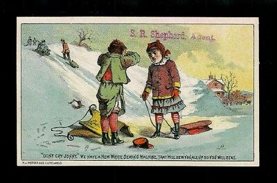 Mishap On Sledding Hill-1880s Victorian Trade Card-White Sewing Machines-SALE