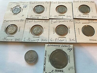 Lot of 10 different coins from communist East Germany (w one from West Germany)