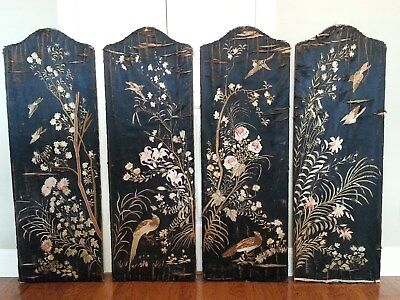Antique Embroidered Fabric Over Wood 4 Panel Floor Screen / Room Divider