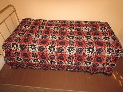 Beautiful, Unusual, Colorful  American Antique Home-Spun Jacquard Coverlet