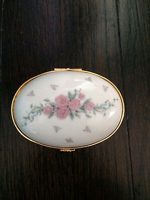 Lenox Porcelain China Ring Box Jewelry Trinket Chest Floral #62C